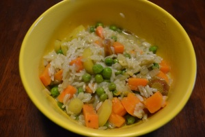Green curry with sweet potato & carrots served with Jasmine rice