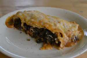 Spinach & black bean enchilada with home-made enchilada sauce
